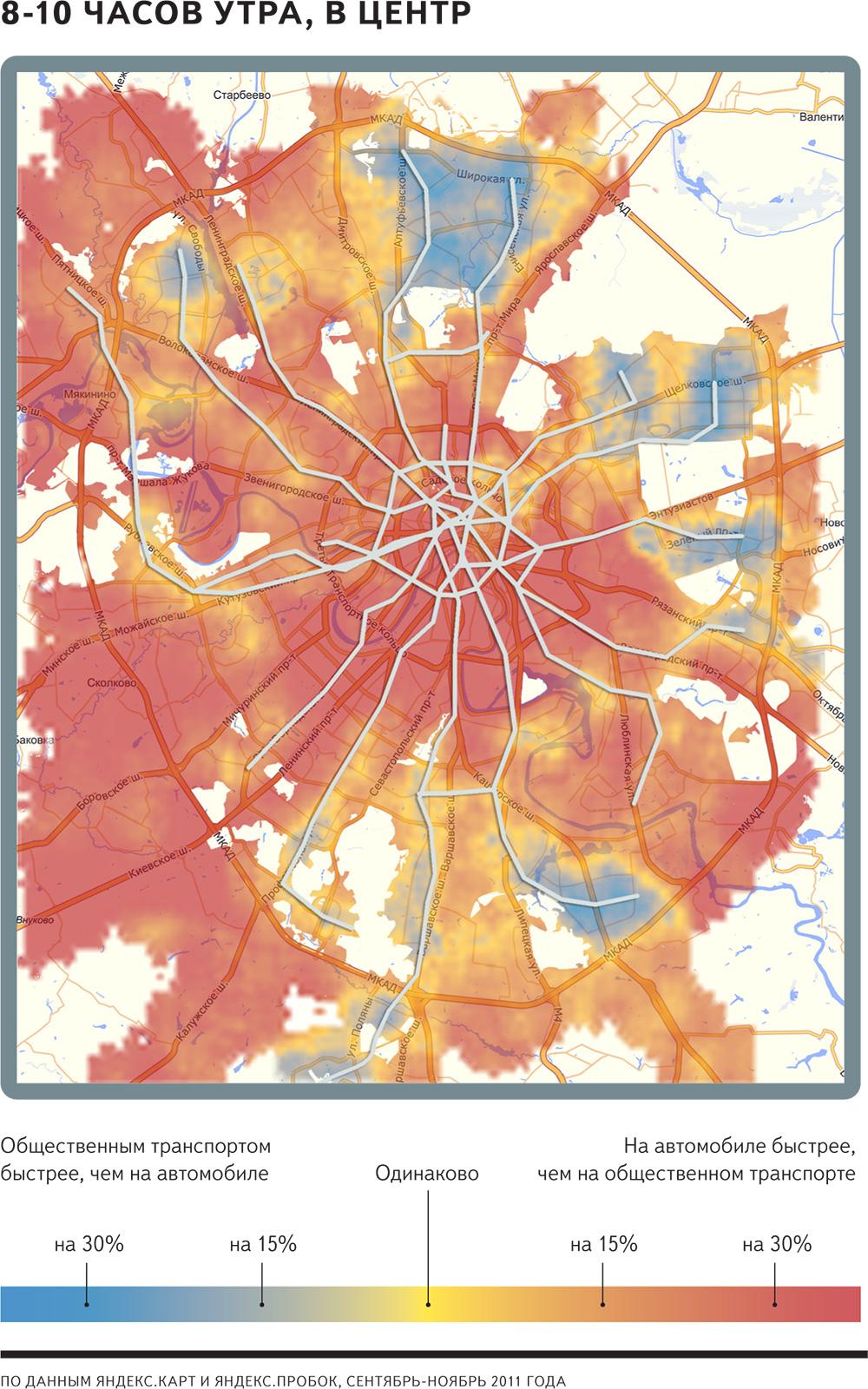 Скорость движения общественного транспорта в центр по района - 8-10 утра