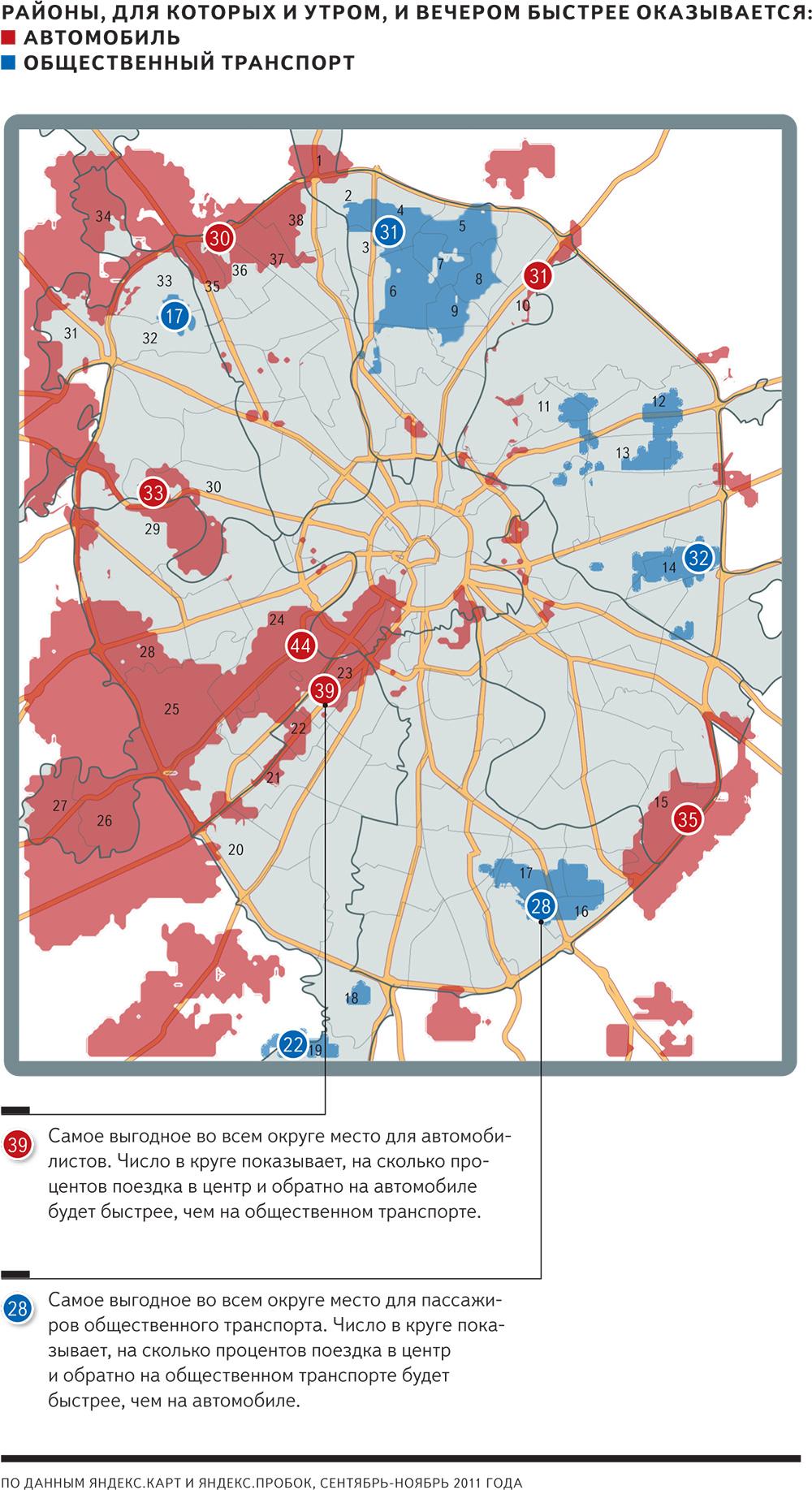 районы по доступности общественным транспортом